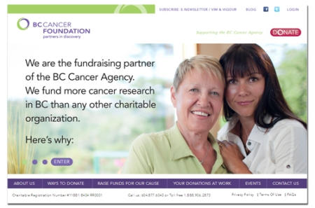 BC Cancer Foundation website homepage